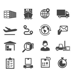 logistic black and white glyph icons set vector image