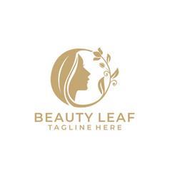 Luxury beauty leaf logo vector
