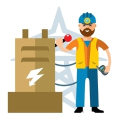 Man Electricity Flat style colorful vector image
