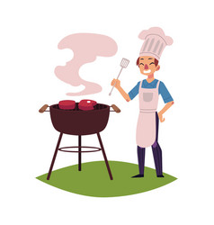 man in chef hat cooking meat on barbecue grill vector image