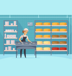 Manufacturing of milk products cartoon composition vector