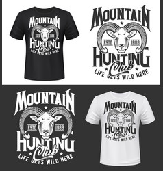 mouflon sheep hunting club t-shirt print mockup vector image
