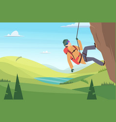 mountain climbing background adult characters vector image