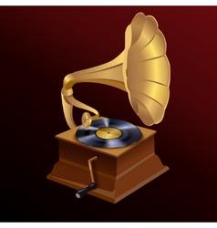 Music gramophone print vector image vector image