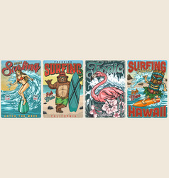 ocean surfing vintage colorful posters vector image