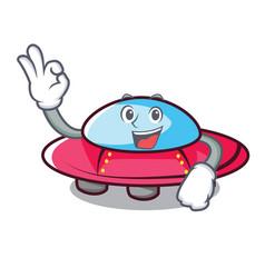 Okay ufo character cartoon style vector