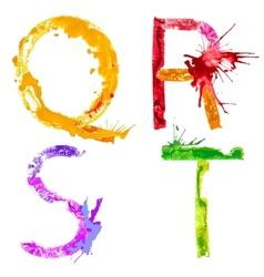 Paint splash font QRST vector