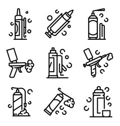 Polyurethane foam icons set outline style vector