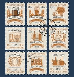 Postage stamps on theme beer and brewery vector
