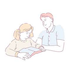 reading book father doing homework assignment vector image
