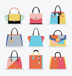 Retro colorful women handbags and purse set vector