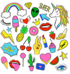 retro fashion elements stickers and pins in 90s vector image
