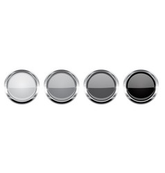 round buttons gray glass 3d icons with metal vector image