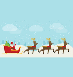 Santa claus riding on sleigh flat vector
