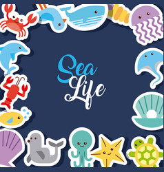 Sea life flat draw vector