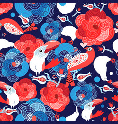 seamless bright pattern with flowers and birds vector image