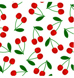 seamless pattern red cherry with green leaf vector image