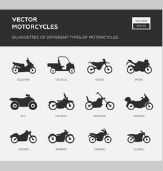 Set different types motorcycles vector