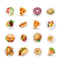Set fast food icons junk food vector
