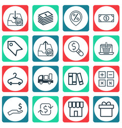 Set of 16 e-commerce icons includes bookshelf vector