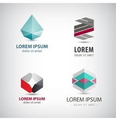 set of abstract origami logos crystal vector image
