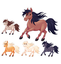 Set of different cartoon horses vector