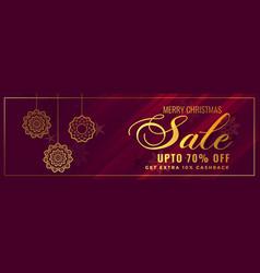 shiny golden christmas sale banner design vector image
