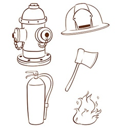 Simple sketches of the things used by a fireman vector