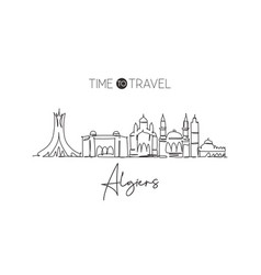Single continuous line drawing algiers city vector