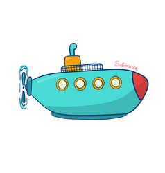 submarine in bright colors of an vector image