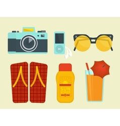 Summer vacation attributes vector