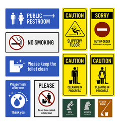 Toilet notice and restroom warning sign vector