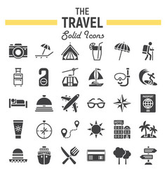 travel solid icon set tourism symbols collection vector image