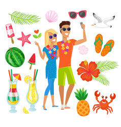 travelers couple animals and fruits vacation set vector image