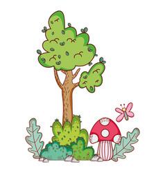 tree mushroom butterfly branch cartoon vector image