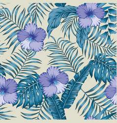 tropical leaves and hibiscus blue colors seamless vector image