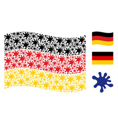 waving german flag pattern of blot icons vector image