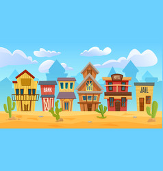 wild west city cartoon western cityscape old vector image