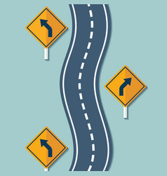 winding road and warning signs vector image