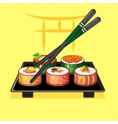 With sushi rolls and chopsticks on a plate 2 vector image