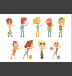 young tourist people wearing comfy travel outfit vector image