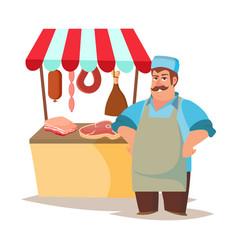 Classic butcher professional butcher man vector