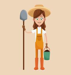 farmer girl straw hat shovel and bucket earth vector image