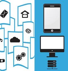 File Transfer mobile phone vector image