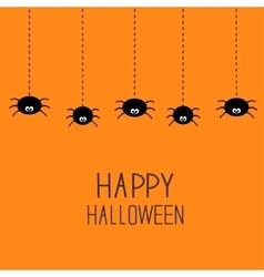 Hanging black spiders on dash line web Happy vector image