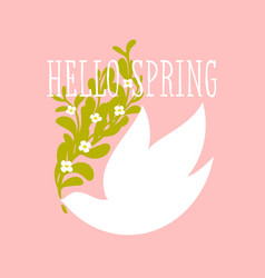 hello spring text and white bird with flowers vector image vector image