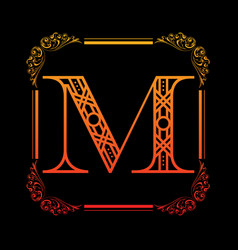 letter m with ornament vector image vector image