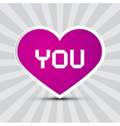 Love You Theme with Purple Paper Heart on Retro vector image vector image