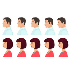 male and female profile avatars expressions set vector image vector image
