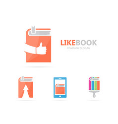 book and like logo combination library vector image